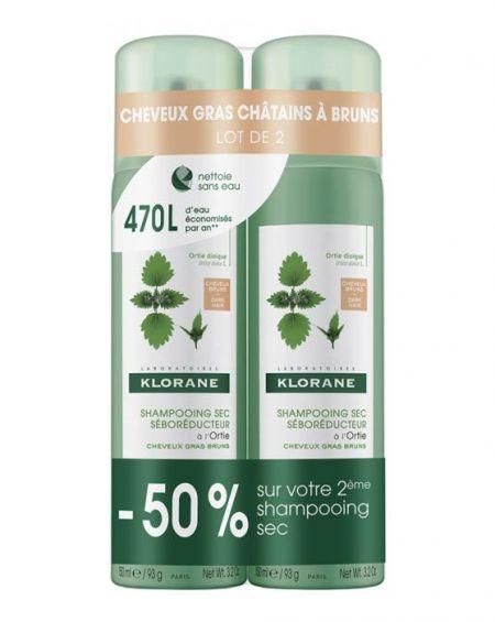 Champú seco de ortiga 150 ml duplo de Klorane pelo castaño moreno