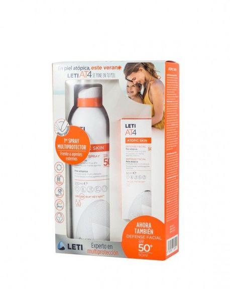 Pack Leti At4 Solar Piel Atópica. Spray  + Facial 50ml