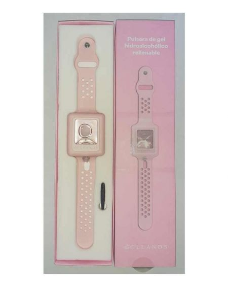 Cleands Pulsera Gel Hidroalcoholico Rellenable Rosa