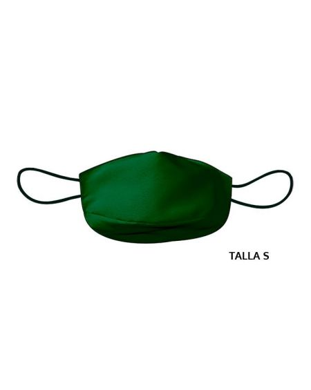 Mascarilla de tela adulto reutilizable 50 usos. Talla S Verde