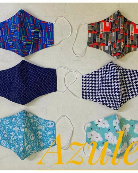 Pack 4 Mascarillas Infantiles Tela 20 Usos Homologada . Talla 6 A 9 Años, Modelos Variados en Azules.
