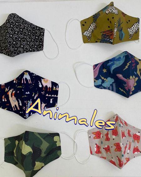 Pack 4 Mascarillas Infantiles Tela 20 Usos Homologada . Talla 10 A 12 Años, Modelos Variados con Animales