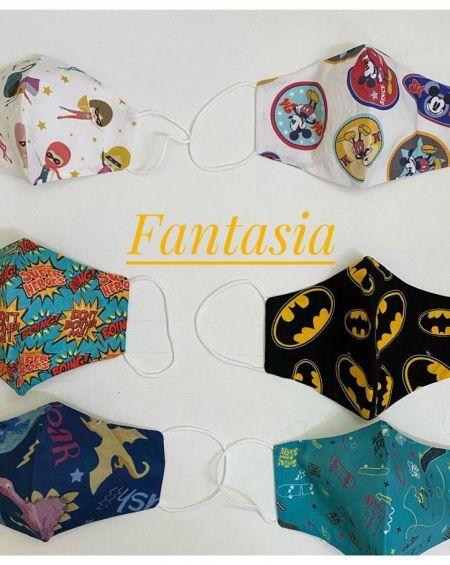 Pack 4 Mascarillas Infantiles Tela 20 Usos Homologada . Talla 6 A 9 Años, Modelos Variados Fantasía.