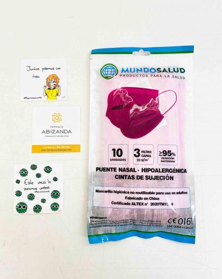 Mascarilla Higiénica 10 ud Color Rosa Mundo Salud