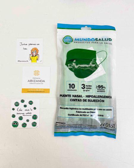 Mascarilla Higiénica 10 ud Color Verde Mundo Salud