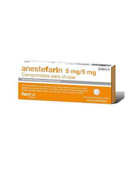 Anestefarin 5 mg /5 mg 20 comprimidos para chupar