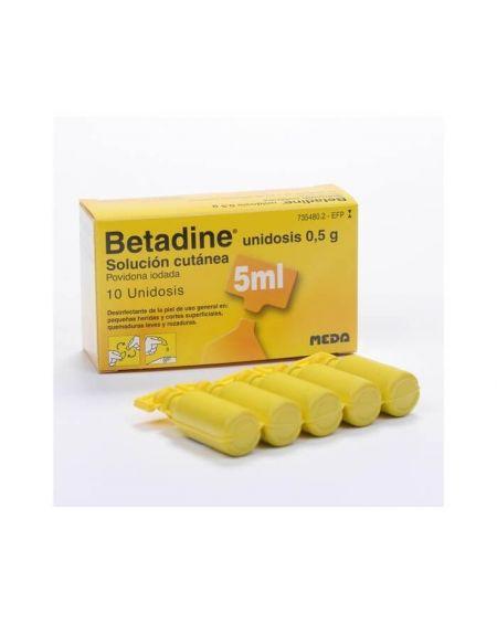 Betadine solución dérmica 10 unidosis 0,5 g