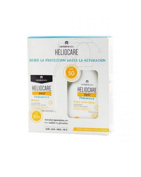 HELIOCARE 360º Pack Pediatrics  Mineral SPF50+ 50 ML + Loción Piel Atópica  SPF50 250 ML proteccion solar para niños