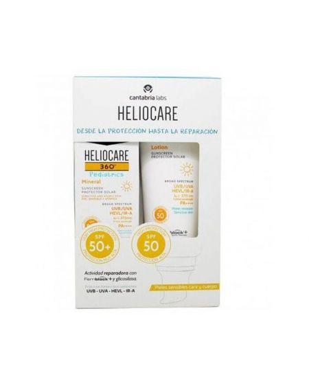 HELIOCARE 360º PACK Pediatrics Protector Mineral SPF50 50Ml + Loción Pediátrica Solar SPF50 200ML proteccion solar infantil