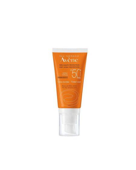 AVENE SPF 50+ CREMA MUY ALTA PROTECCION solar facial con COLOR 50 ML para pieles sensibles con rosacea o rojeces