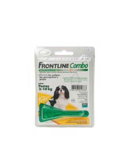 Frontline Combo de 2 a 10 Kg para eliminar los parásitos de perros de raza toy o pequeña