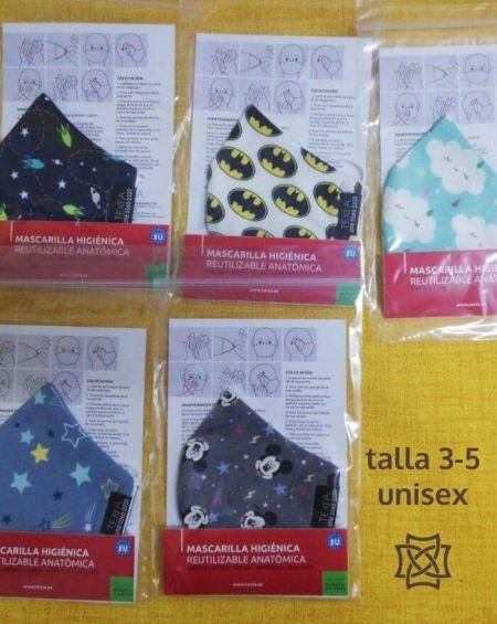 Talla 3-5. Pack 4 Mascarillas Infantiles Tela 20 Usos Homologada. Modelos Variados.