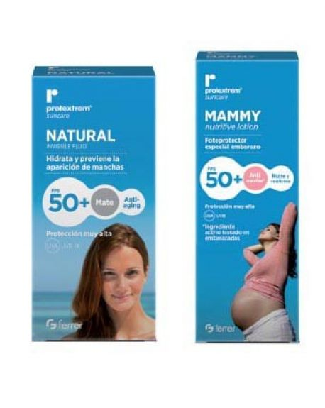 Protextrom Mammy fotoprotector antiestrias FPS 50 + Natural invisible fluid FPS 50