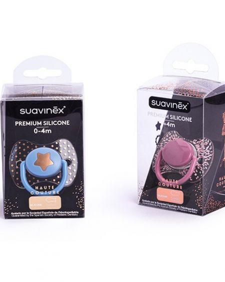 Cupete Suavinex Premium fisiológico silicona +4m y broche pinza premium redondo
